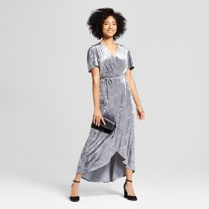 Xhilaration Silver Crushed Velvet Wrap Dress, S